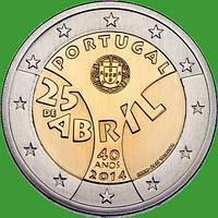 Португалия 2 евро 2014 г. 40-летие Революции гвоздик. UNC