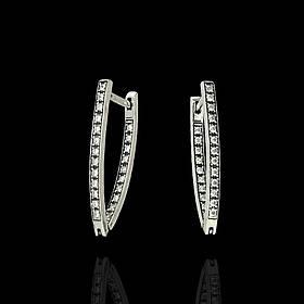 Серебряные серьги с фианитами, 46 камней