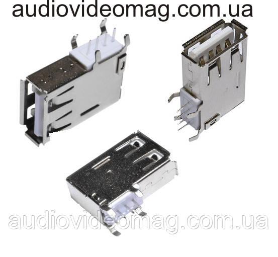 Гніздо USB A монтажне, з боковим кріпленням на плату