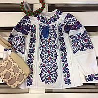 Блуза вышиванка натуральная для девочки Сказка
