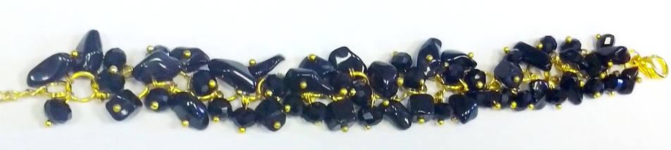 Браслет. Натуральные камни. Черный агат. Кристалл, фото 2