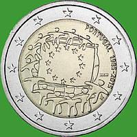 Португалия 2 евро 2015 г. 30 лет флагу Европы . UNC.