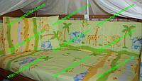 """Бортики и набор постели в детскую кроватку -""""Сафари"""", фото 1"""