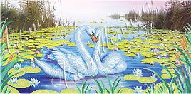 """Схема для вышивки бисером  W-214 """"Лебеди в лилиях"""""""