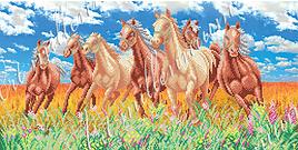 """Схема для вышивки бисером  W-215 """"Лошади в поле"""""""