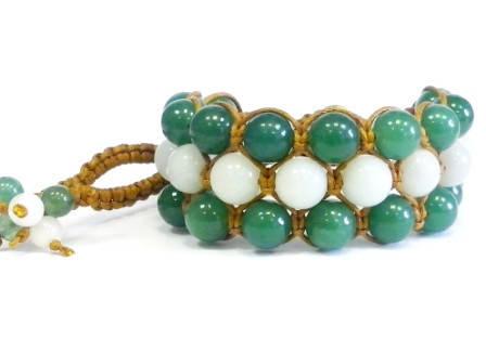 Браслет Нефрит белый и зеленый. Хлопковый шнур. 3 ряда, фото 2