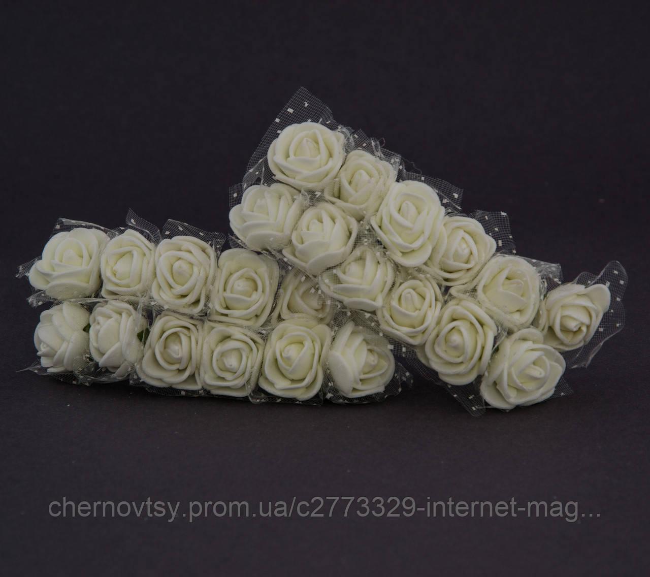 Троянди з латексу з фатином 3.5 см, уп. 144 шт.
