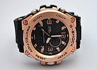 Часы Shock - Global System, водозащита 5Bar,  черные c золотистым, фото 1