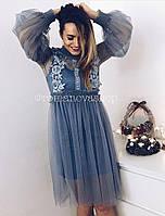 Женское платье из фатина с кружевом, в расцветках