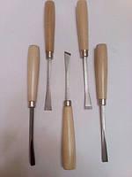 Набор резцов для резьбы по дереву 5 ед. Деревянная рукоятка бук.