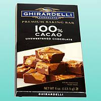 Ghirardelli, Шоколад высшего сорта для выпечки, 100% какао, без подсластителей, 4 унции (113,5 г)