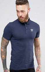 Мужское поло Adidas синего цвета  (люкс копия)