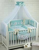 Комплект постельного белья Asik Мишки на луне бирюзового цвета 8 предметов (8-285)