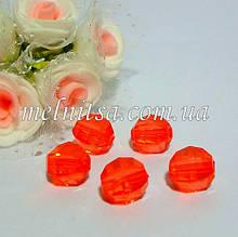 Бусины пластиковые, граненные,  10 мм, цвет красный, 10 шт