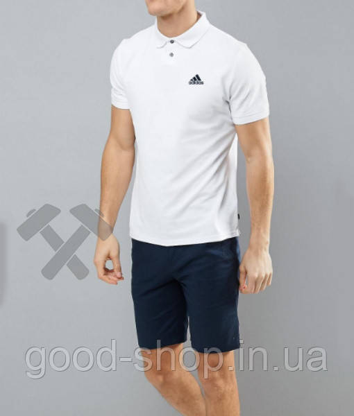 Мужское поло Adidas белого цвета (люкс копия)