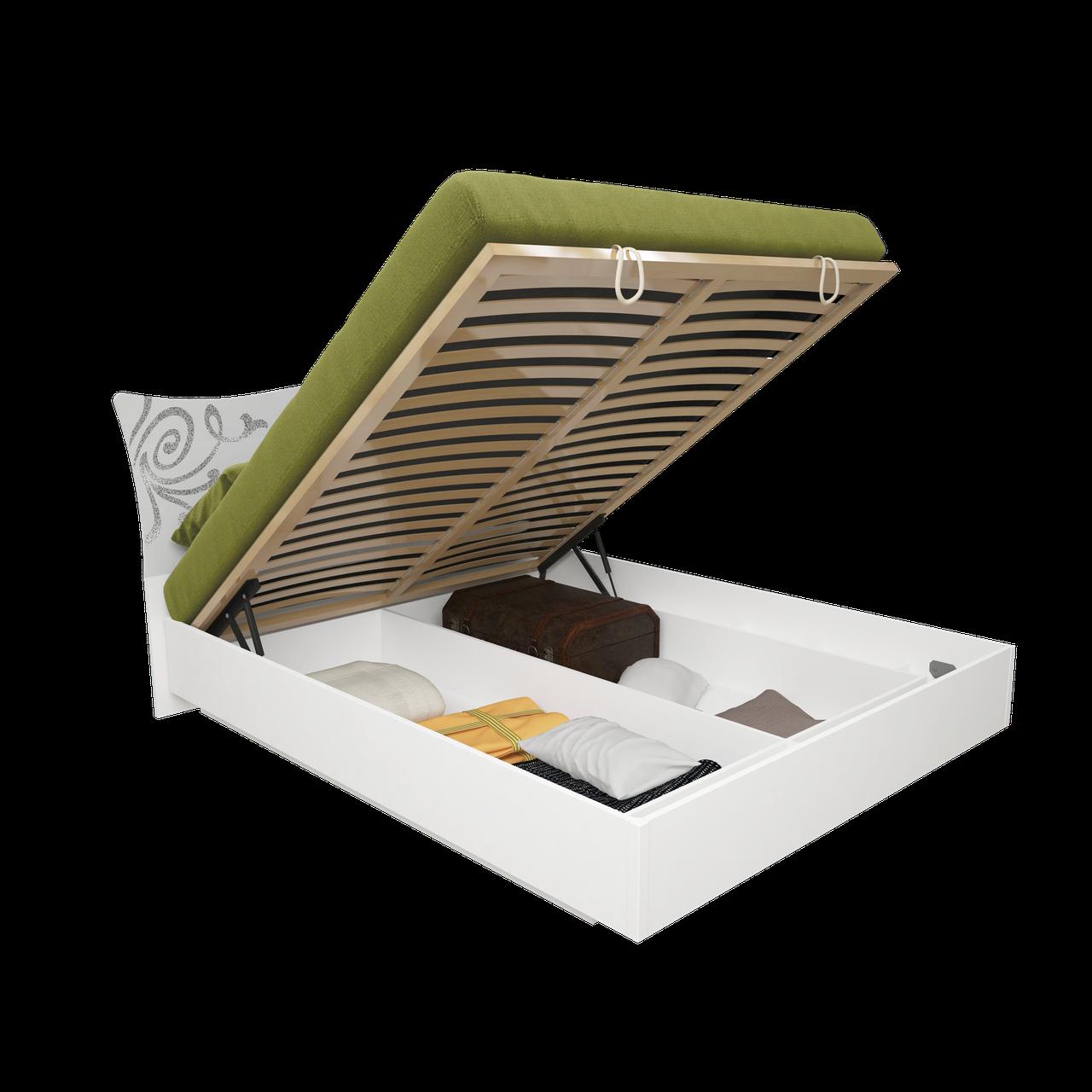Ліжко з ДСП/МДФ в спальню Богема 1,6х2,0 підйомне з каркасом білий Миро-Марк