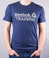 Темно-синяя мужская футболка Reebok Training (Рибок Тренинг) | 100 % хлопок, размеры: 44-52
