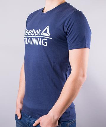 Темно-синяя мужская футболка Reebok Training (Рибок Тренинг) | 100 % хлопок, размеры: 44-52, фото 2