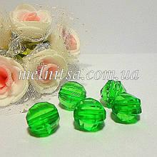 Бусины пластиковые, граненные,  10 мм, цвет зеленый, 10 шт