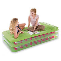 """Кровать надувная велюровая для сна и отдыха Intex """"Rest&Fun"""" 67715, односпальная, 191х99х47 см, электронасос, надувной матрас, велюр кровать"""