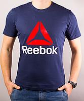 Темно-синяя мужская футболка Reebok (Рибок) | 100 % хлопок, размеры: 44-52