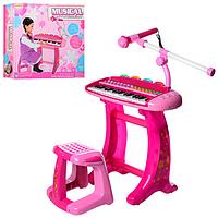 Детское синтезатор со стульчиком,с микрофоном и записью звука hk-8020c-2 kk