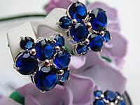 Серебряные серьги с золотой пластиной и синим камнем, фото 1