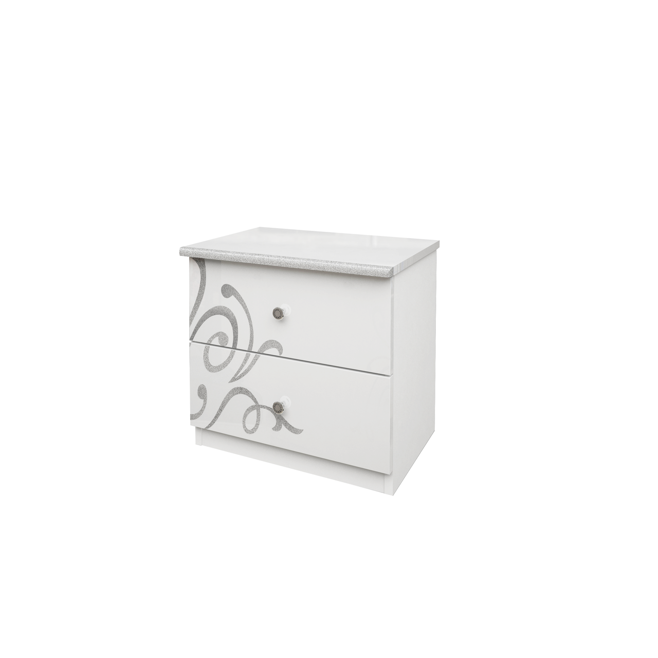Тумбочка приліжкова з ДСП/МДФ в спальню Богема біла 2Ш Миро-Марк
