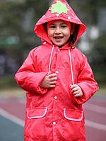 Плащ-дождевик детский Raincoat, водонепроницаемый, красный