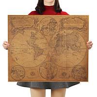 Постер Географическая Карта Мира ретро , 70.5см *58.5см