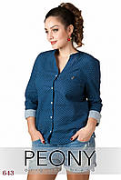 Женская рубашка Панама (48 размер, синий, горошек) ТМ «PEONY»
