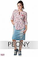 Женская рубашка Турне (50 размер, полоска красная) ТМ «PEONY»
