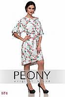 Платье Тулуза (52 размер, белый+кр розы) ТМ «PEONY»