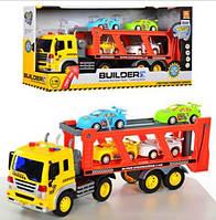 Автовоз инерционный с машинками Builder WY570B 1:16