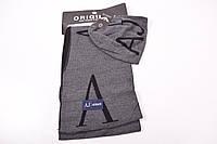 Комплект мужской вязаный (шапка+шарф)-цв.т/серый Armani