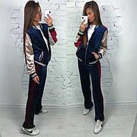 Женский бархатный спортивный костюм