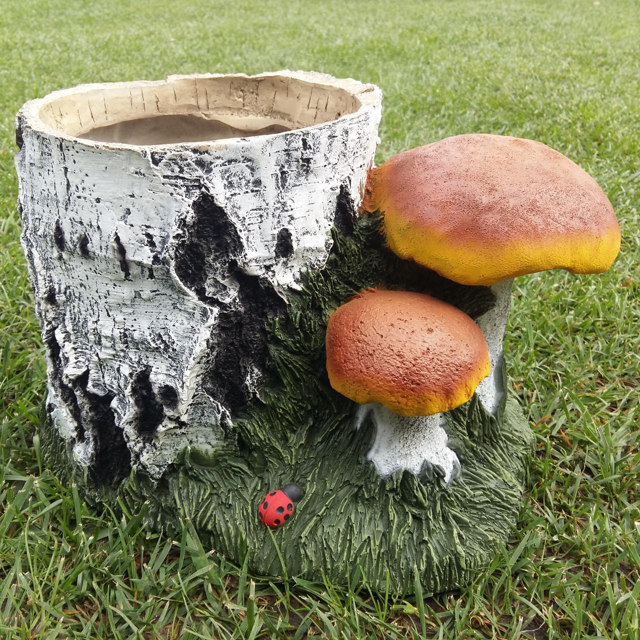 """Декоративное кашпо """"Пень березовый с грибами"""" H-20см"""