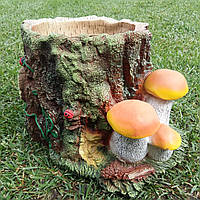 """Декоративное кашпо """"Пень с грибами"""" H-20см"""