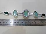 Браслет з каменем хризопраз і кварц в сріблі. Браслет з природним хризопразом., фото 6