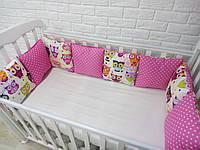 Защита в кроватку, бортики подушки «Стильные Совушки»