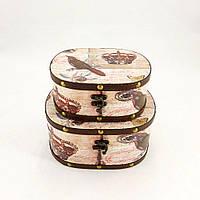 Шкатулка овальная набор из 2-х в стиле Шебби Шик