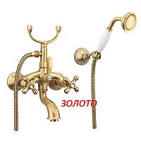 Золотой смеситель для ванны с кристаллами Сваровски Fiore Margot Sky Италия