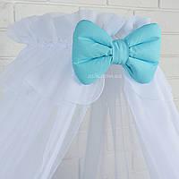 Универсальный балдахин на детскую кроватку белого цвета с голубым бантом