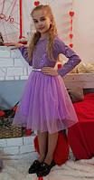 Платье детское подростковое фиолетовое Жасмин 134, 140, 146, 152см трикотаж+ сетка юбка-пачка