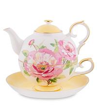 Чайный набор Чашка + Чайник из костяного фарфора