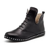 Женские чёрные весенне осенние ботинки из натуральной кожи с шнурками на термопластичной плоской подошве, фото 1