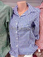 Женская рубашка с бусинами S, M, L. Турция. Клетка