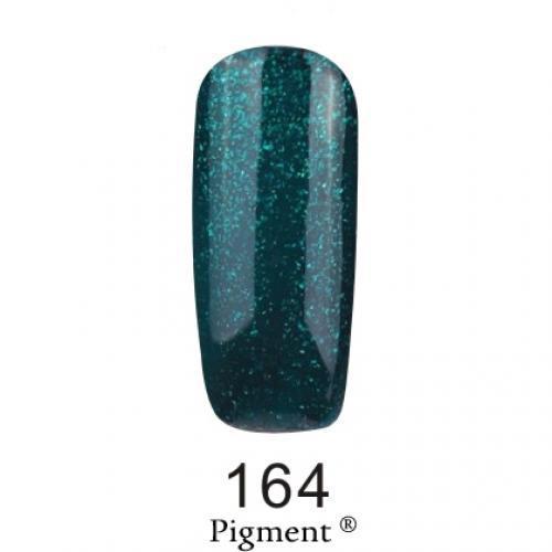 Гель лак Fox Pigment 164 Темно-зеленый с блестками