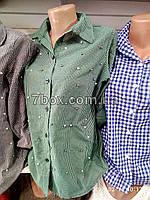 Женская рубашка с бусинами S, M, L. Турция. В мелкую клетку. Зеленый