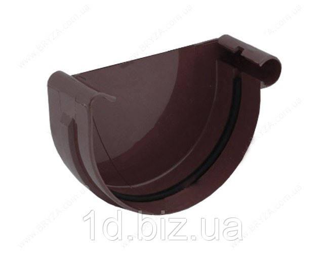 Заглушка желоба правая водосточной системы Бриза (Bryza) 100 мм коричневый